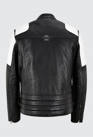 Tom Holland Biker Jacket Black Real Leather White Quilted Shoulder PATCH Jacket 2724