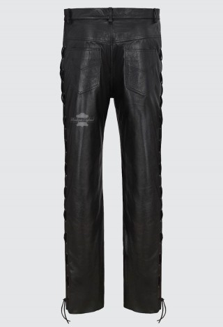 Men's Leather Trouser Black Laced Motorcycle Style | 100% HIDE LEATHER 00126