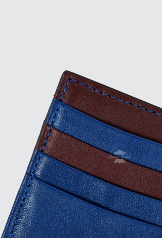 Small Leather Card Holder Pocket Wallet Men Women Blue Cherry Slim Pocket Case Cash Purse 1422