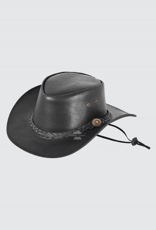 Australian Western style Cowboy Black Hat Real Leather with Chin Strap Hat H-180
