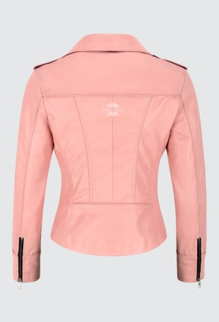 Ladies Fashion Leather Jacket Baby Pink Real Lambskin Tops Black Zip & Lining