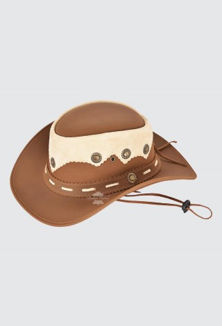 Australian Western Aussie Style Cowboy Hat Faded Conchos Real Leather Hat H-183