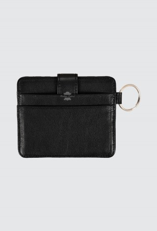Small Pouch Credit Card Case Unisex Black Real Leather Slim Card Wallet with Key Chain 1456