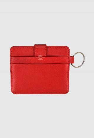 Small Pouch Credit Card Case Unisex Red Real Leather Slim Card Wallet with Key Chain 1456