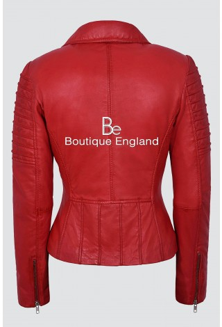 New Ladies Red Fashion Designer Biker Style Real Soft Lambskin Leather Jacket 9334