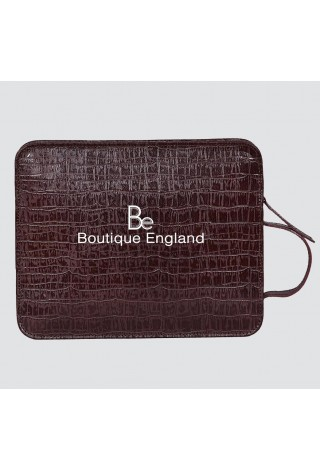4040 i-Pad Brown Croc Travel Hand Bag Good Quality Real Print Leather Pouch
