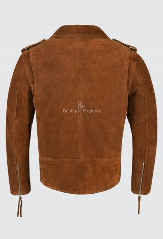 BRANDO Men's Real Leather Jacket Tan Suede Biker Motorcycle STYLE MBF