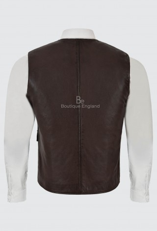 Men's Leather V-Neck Waistcoat Brown Classic Fashion Real Lambskin Vest 8834