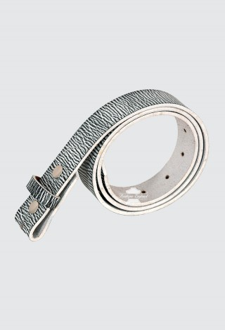 Men's White Black Textured Cow Hide Leather Belt Strap Press Stud 40mm Waxed Texture 610