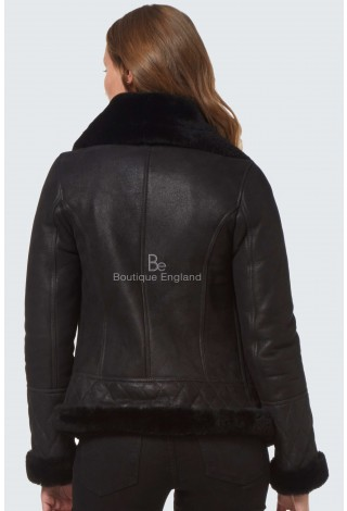 Ladies Wear Real Sheepskin Jacket Shearling Fur Short Fitted Black Biker Fashion Stylish NV-89