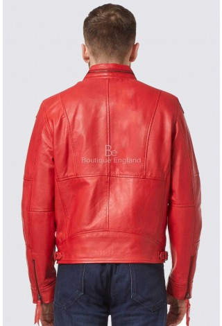 Men's Classic Style Red Wax ZipCollar Designer Casual Soft Real Lambskin Leather Jacket 9056