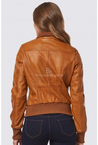 'FUSION' Ladies Tan WASHED Short Bomber Biker Motorcycle Style Leather Jacket 3758