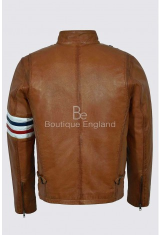 'EASY RIDER' Men's TAN AMERICA Motorcycle Stripes Lambskin Leather Jacket