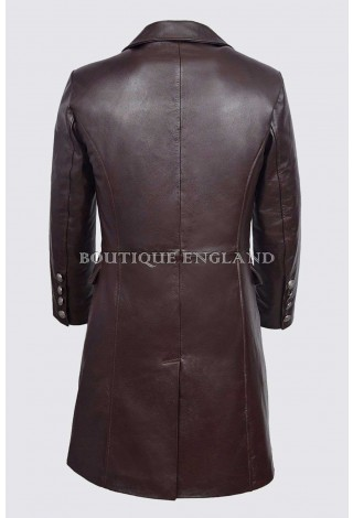 GERMAN NAVAL Brown Men's Classic Military Real Hide Leather Submarine Coat 9490