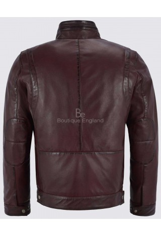 Bruce Will Men's Cherry Real Leather Jacket Fitted Classic Collar Fashion Soft Lambskin 999