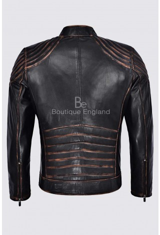 Alex Menswear Ambassador Motorcycle Real Napa Leather Black Vintage Rust Fashion Jacket NV-100