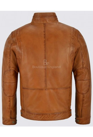 Bruce Will Men's Tan Real Leather Jacket Fitted Classic Collar Fashion Soft Lambskin 999