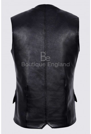 Men's Black Jude Dapper style Fine Italian Real Leather Double Breasted Lapel Waistcoat 1642