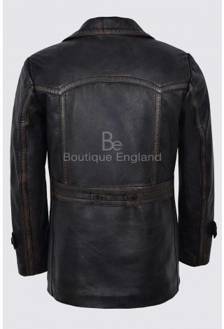 Men's Double Breasted Black Bronze Vintage World War 2 Peek Real Leather Coat Jacket DR-Who