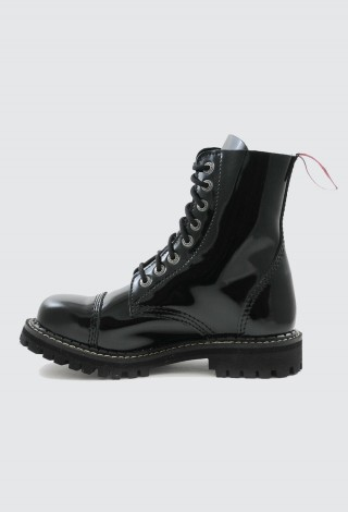 Angry Itch Boots 8 Hole Combat Boots Black Patent Leather Ranger Steel Toe Punk AI08/B/PAT