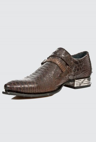 NEWROCK New Rock 2246-S32 Brown Snake Print Leather Buckle West Steel Heel Shoes