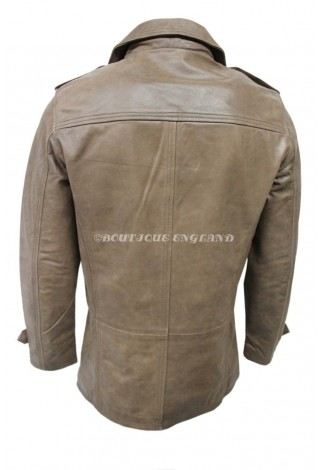 NEW GOODFELLA Vintage Brown Men's Classic Reefer Real Leather Coat Jacket 9060