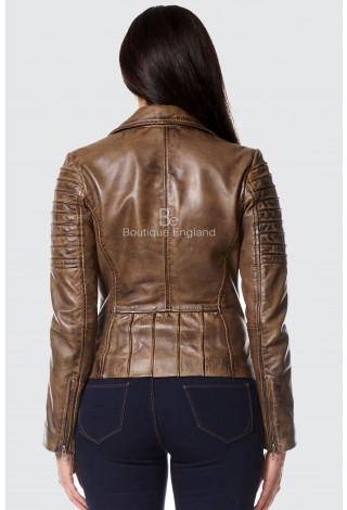 Ladies Dirty Brown Stylish Fashion Designer Biker Soft Real Leather Jacket 9334