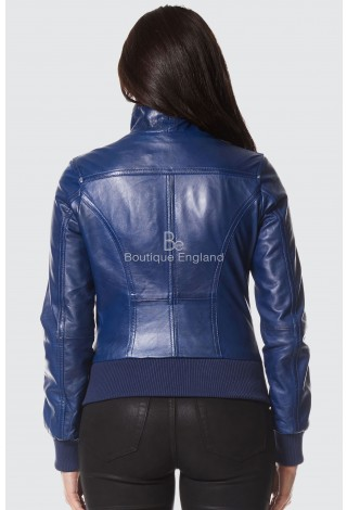 'FUSION' LADIES Blue NAPA WASHED SHORT BOMBER BIKER MOTORCYCLE STYLE LEATHER JACKET 3758