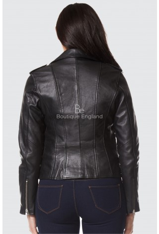 'MYSTIQUE' LADIES BLACK NAPA BIKER STYLE MOTORCYCLE DESIGNER LEATHER JACKET 7113