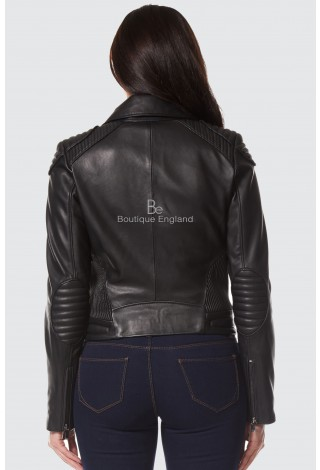 Selena Gomez Ladies Black Real Leather Jacket New Fashion Arrival Short Slim Fit NV-81