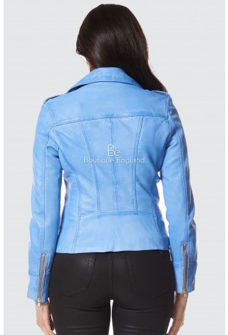 'RIDER' Ladies Blue Crust Biker Motorcycle Style Soft Real Lambskin Napa Leather Jacket 9823