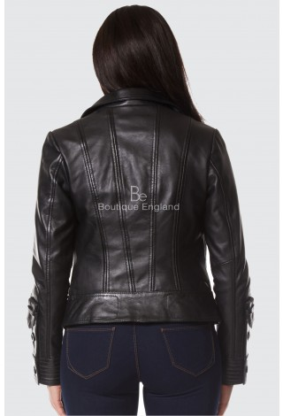 NEW SUPERMODEL LADIES Black ROCK BIKER STYLE DESIGNER REAL NAPPA LEATHER JACKET 4110
