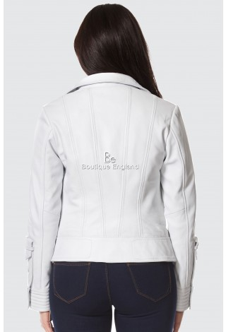 SUPERMODEL Ladies White napa Biker Style Designer Real Italian Lamb Leather Jacket 4110