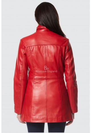 LADIES Red NAPA GOTHIC STYLE FITTED REAL LAMBSKIN LEATHER JACKET COAT 1310