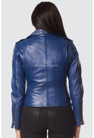 Ladies DOMINO BLUE Rockstar Women's Studded Real Lambskin Leather Biker Jacket 4326
