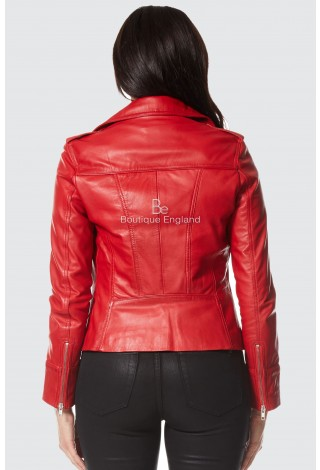 'RIDER' Ladies Red Biker Motorcycle Style Soft Real Nappa Leather Jacket 9823