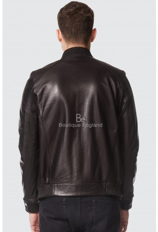 Men's Perforated Leather Jacket Black Casual Fashion Series 100% Real Leather A-08