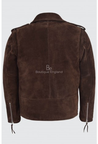 BRANDO Men's MBF Brown Suede Classic Motorcycle Biker Real Leather Jacket