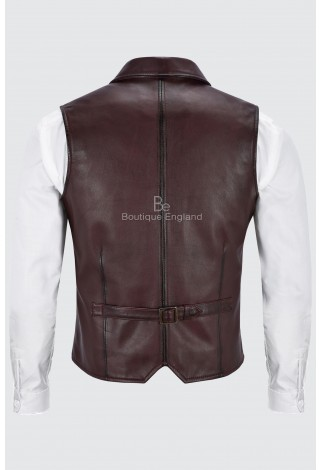 Men's Real Leather Waistcoat Party Fashion Classic  Cherry Napa Traditional Style 1349