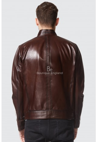 Sam Claflin Men Real Italian Brown leather Jacket Ultra-Stylish Biker Motorcycle Style 9054