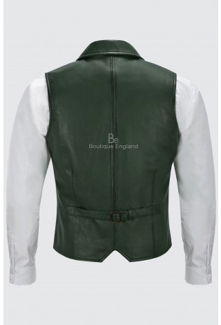 Men's Real Leather Waistcoat Party Fashion Green Napa Casual Business Suit Vest 1349