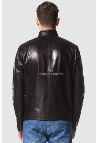 Sam Claflin Men's Real Italian Black leather Jacket Ultra-Stylish Biker Motorcycle Style 9054