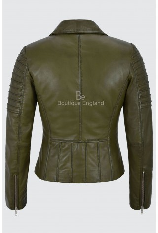 Ladies Real Leather Jacket Olive Green Stylish Fashion Designer Soft Biker Style 9334