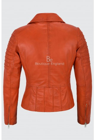 Ladies Real Leather Jacket Orange Stylish Fashion Designer Soft Biker Style 9334