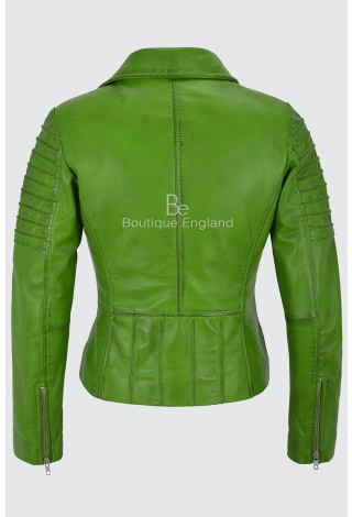 Ladies Real Leather Jacket Parrot Green Stylish Fashion Designer Soft Biker Style 9334