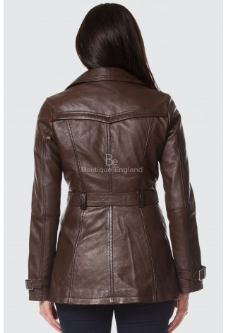 Ladies Trench Coat BROWN Classic Mid-Length Fashion Designer REAL LEATHER 1123