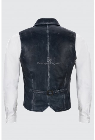Men's Waistcoat Leather Navy Vintage | Party Fashion Formal Luxury 1349