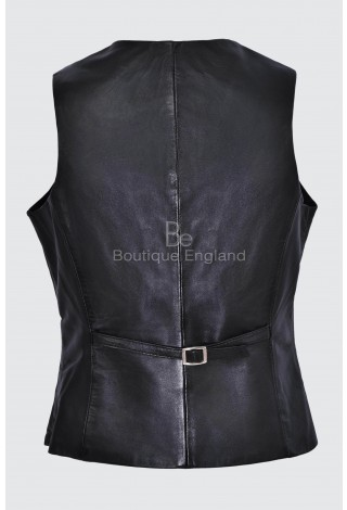 Ladies Black Party Waistcoat Cool Casual Style Fashion Soft Lambskin Leather 5701