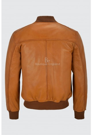 70'S RETRO BOMBER Jacket Men's Tan Classic Soft Italian Napa Leather 1229