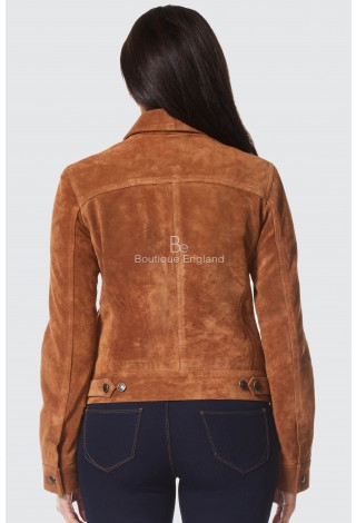 Ladies ''TRUCKER'' CASUAL LUXURY REAL SOFT TAN LUXURY SUEDE LEATHER JACKETS 1680